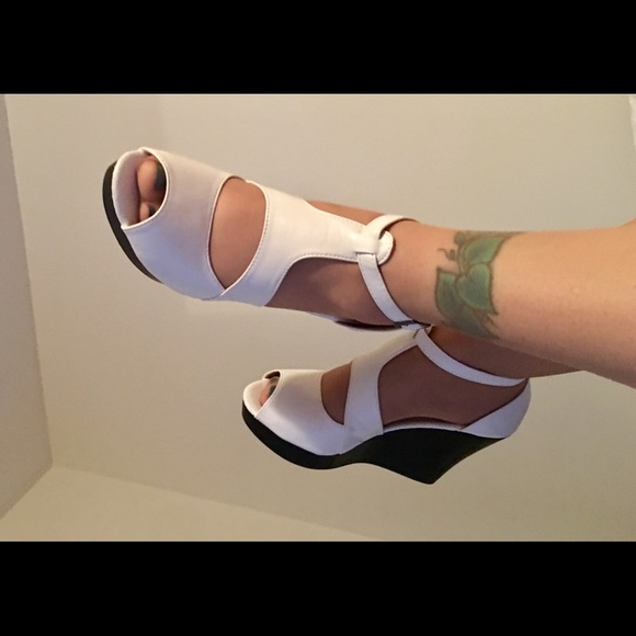 3ae098dd5c31 Agape Shoes - New in box! Blk Wht wedge US size 9